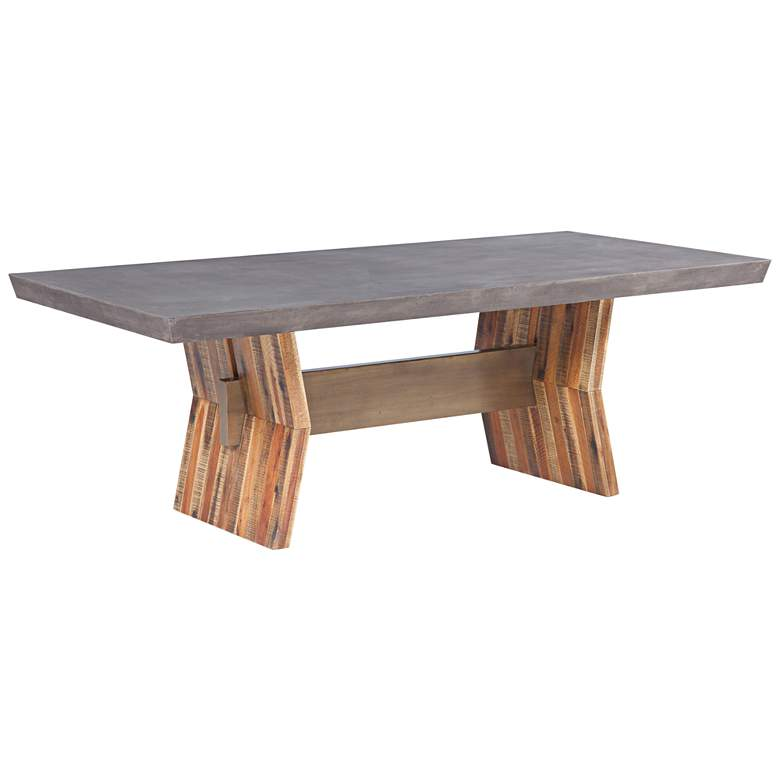 "Astoria 86 1/2"" Wide Dark Gray Concrete & Wood Dining Table"