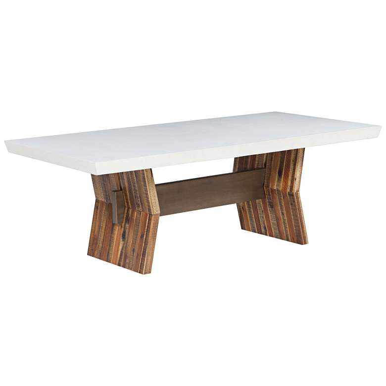Astoria White Concrete Top and Brown Wood Dining Table