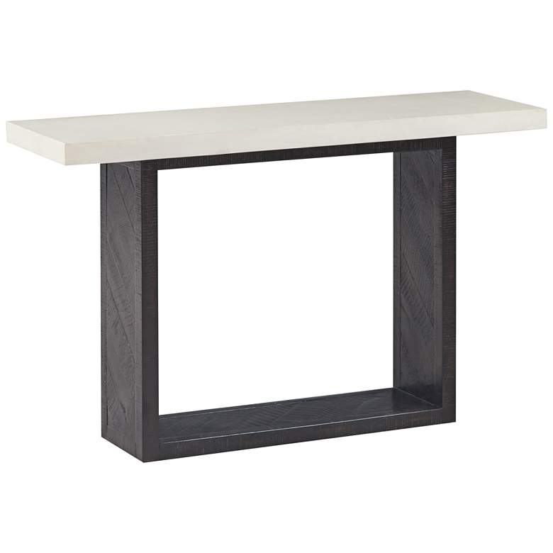 Wyckoff White Concrete and Black Wood Mixed Console Table