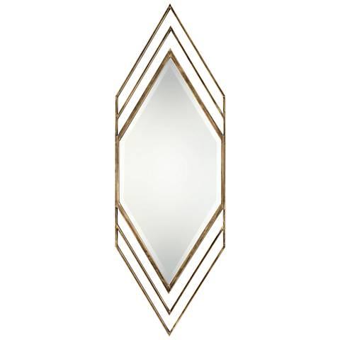 """Uttermost Javon Golden Bronze Leaf 20"""" x 60"""" Wall Mirror"""