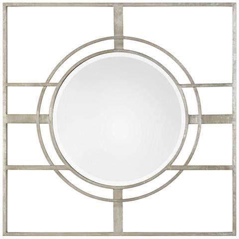 "Zenon Metallic Silver Leaf 39 1/2"" Square Wall Mirror"