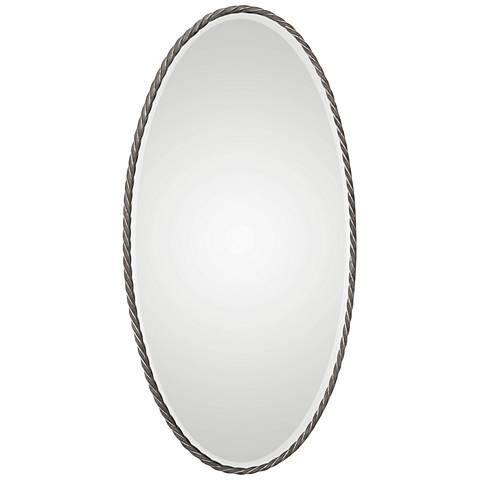 "Kateel Burnished Bronze 23 1/2"" x 47 1/4"" Oval Wall Mirror"