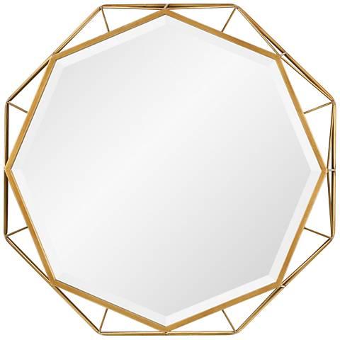 "Uttermost Mekhi Antiqued Gold Leaf 30"" x 30"" Wall Mirror"