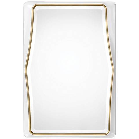 "Colleen White and Gold Leaf 22"" x 32 1/2"" Wall Mirror"