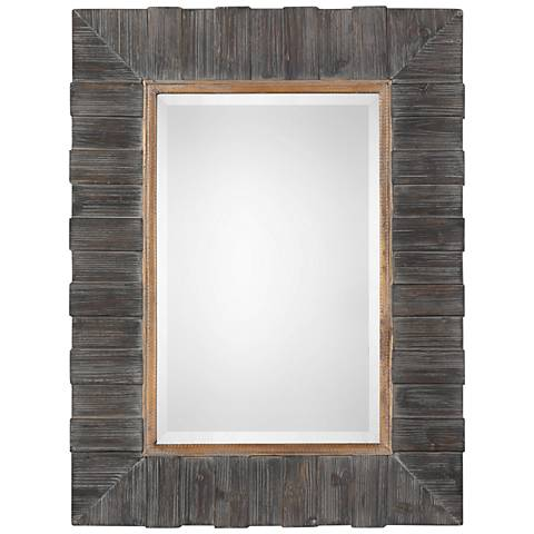"Uttermost Mancos Rustic Wood 30"" x 40 1/4"" Wall Mirror"