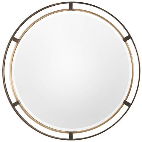 "Carrizo Distressed Rustic Bronze 36 1/4"" Round Wall Mirror"