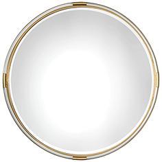 "Mackai Metallic Gold Leaf 37 1/2"" Round Wall Mirror"