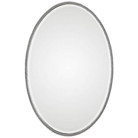 "Giana Burnished Silver 24 1/4"" x 36 1/4"" Oval Wall Mirror"