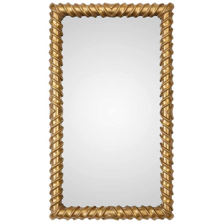 "Yamuna Metallic Gold Leaf 25"" x 43 1/4"" Wall Mirror"