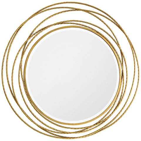 "Whirlwind Metallic Gold Leaf 39 1/4"" Round Wall Mirror"