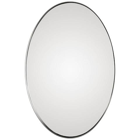 """Uttermost Pursley Brushed Nickel 20"""" x 30"""" Oval Wall Mirror"""