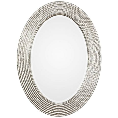 "Uttermost Conder Burnished Silver 25"" x 34"" Oval Wall Mirror"