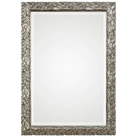 """Evelina Metallic Silver 24 3/4"""" x 34 3/4"""" Wall Mirror"""