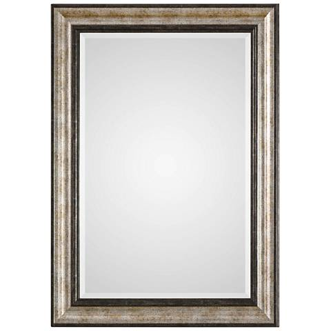 """Shefford Antiqued Silver and Bronze 31"""" x 43"""" Wall Mirror"""