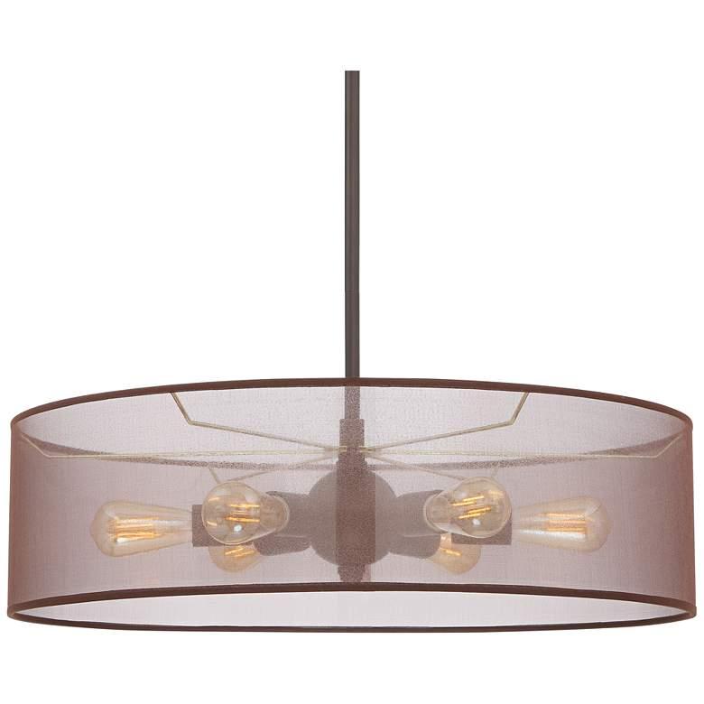 "Favreau 27"" Wide Oiled Bronze 6-Light LED Drum Shade Pendant"