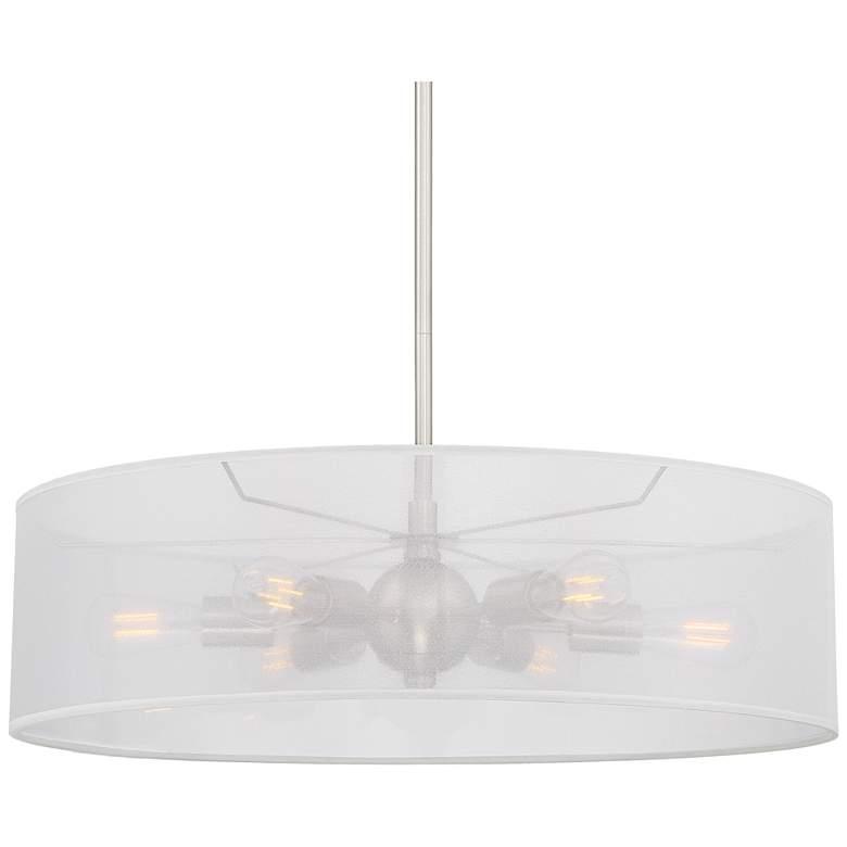 """Favreau 27""""W Brushed Nickel 6-Light LED Drum Shade Pendant"""