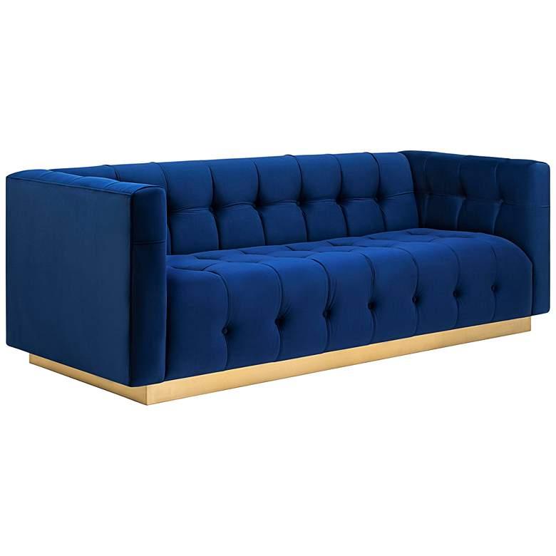 """Roma 84"""" Wide Navy Blue Velvet Button-Tufted Modern Sofa"""