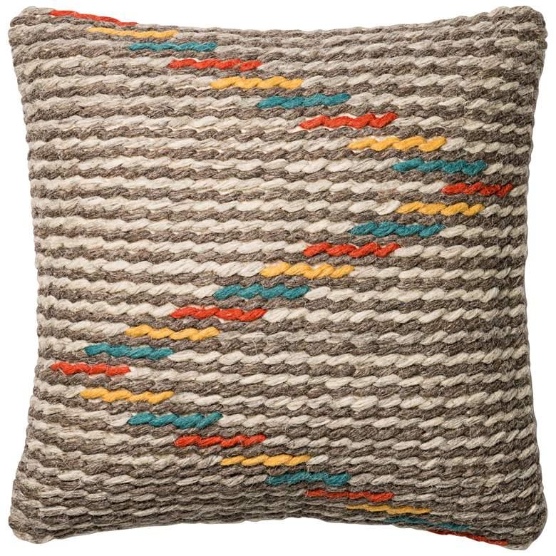 "Abel Gray Multi-Color Tribal 22"" Square Lumbar Throw Pillow"