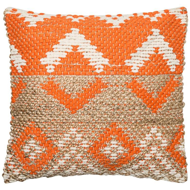 """Loloi Nimitz Orange and Beige Tribal 22"""" Square Throw Pillow"""