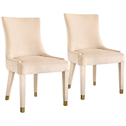 Diamond Cream Velvet Armless Dining Chairs Set of 2
