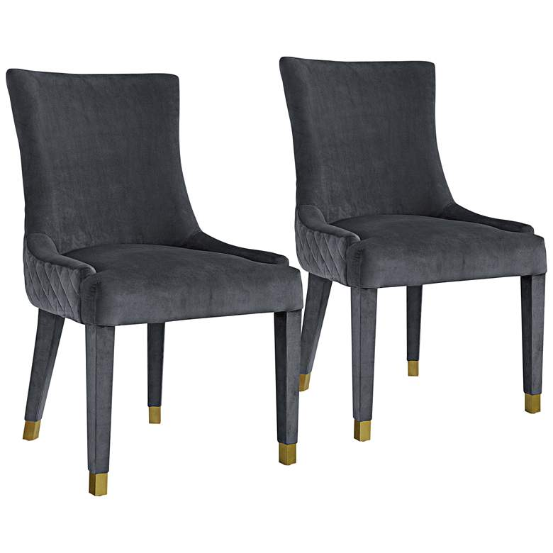 Diamond Gray Velvet Armless Dining Chairs Set of 2