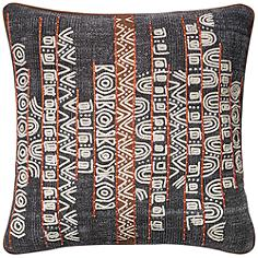 "Loloi Trimble Blue and Rust Tribal 22"" Square Throw Pillow"