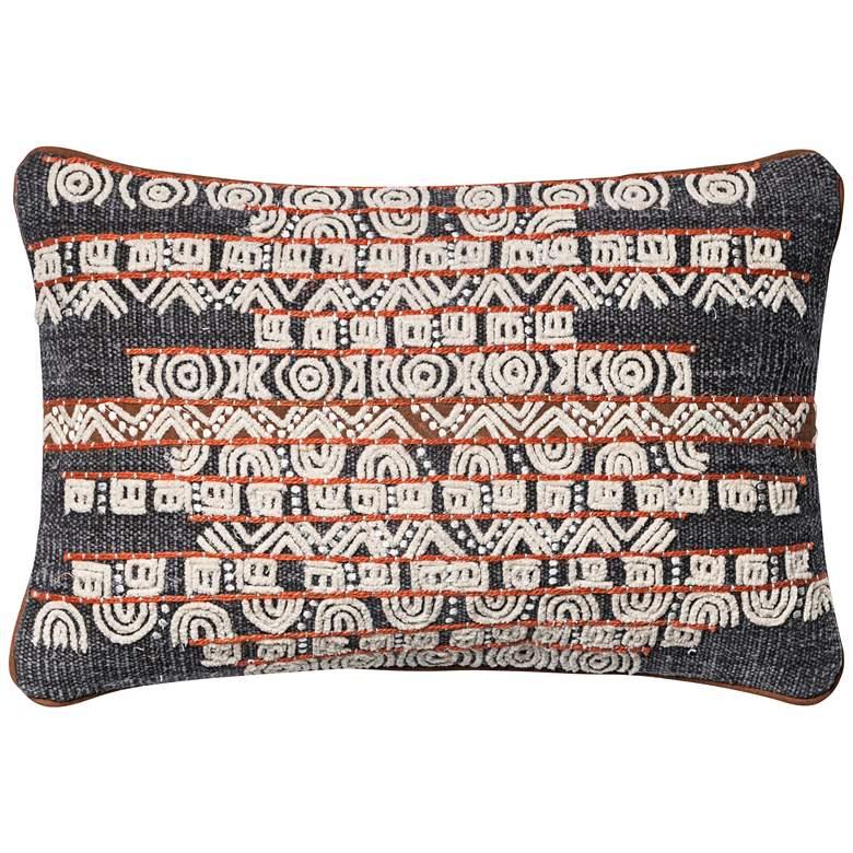 "Loloi Trimble Blue and Rust Tribal 21"" x 13"" Pillow"