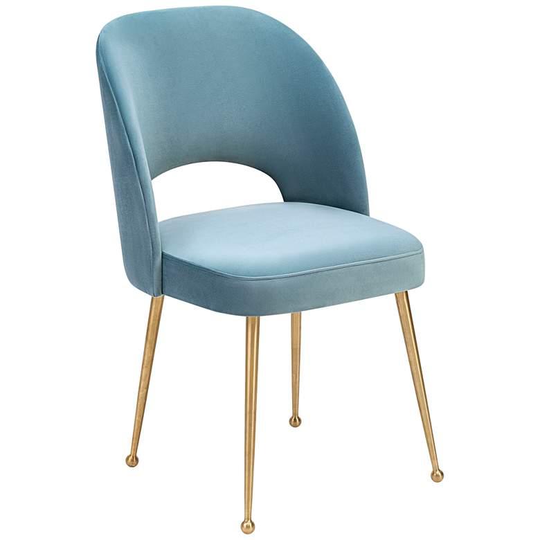 Swell Sea Blue Velvet Dining Chair