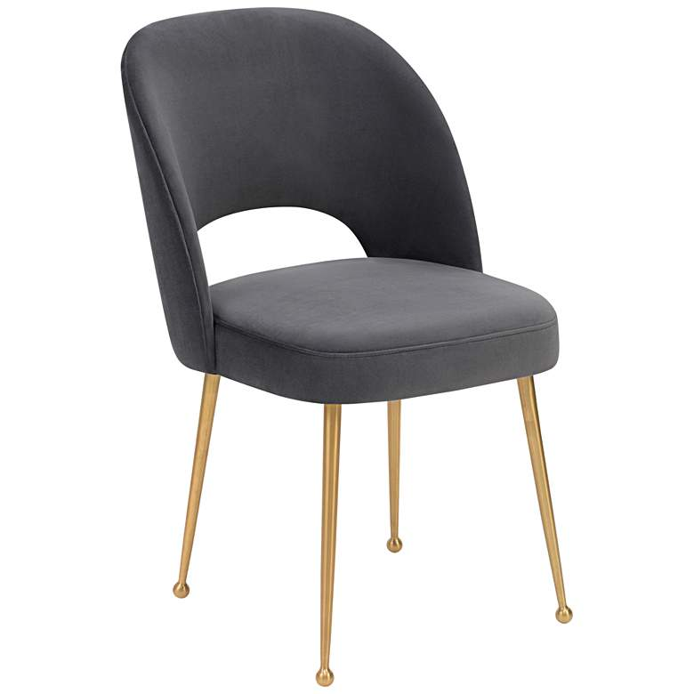Swell Dark Gray Velvet Dining Chair