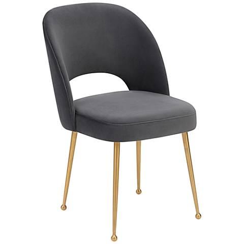 Swell Dark Gray Velvet Dining Chair