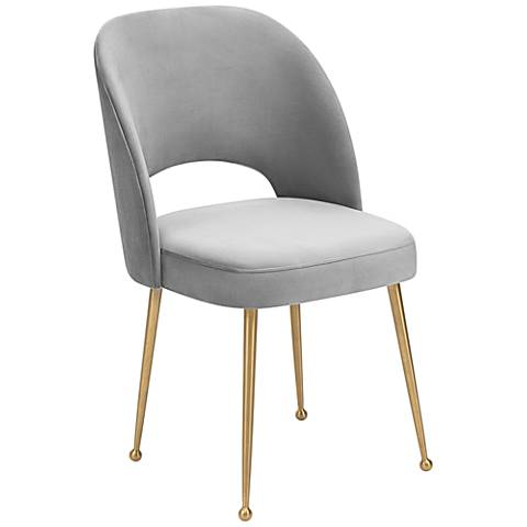 Swell Light Gray Velvet Dining Chair