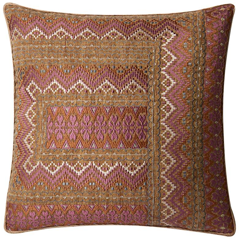 """Loloi Cropley Pink and Rust Tribal 22"""" Square Throw Pillow"""