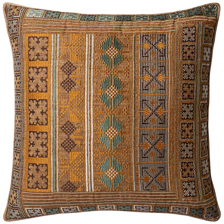 """Loloi Morill Gold and Teal Tribal 22"""" Square Throw Pillow"""