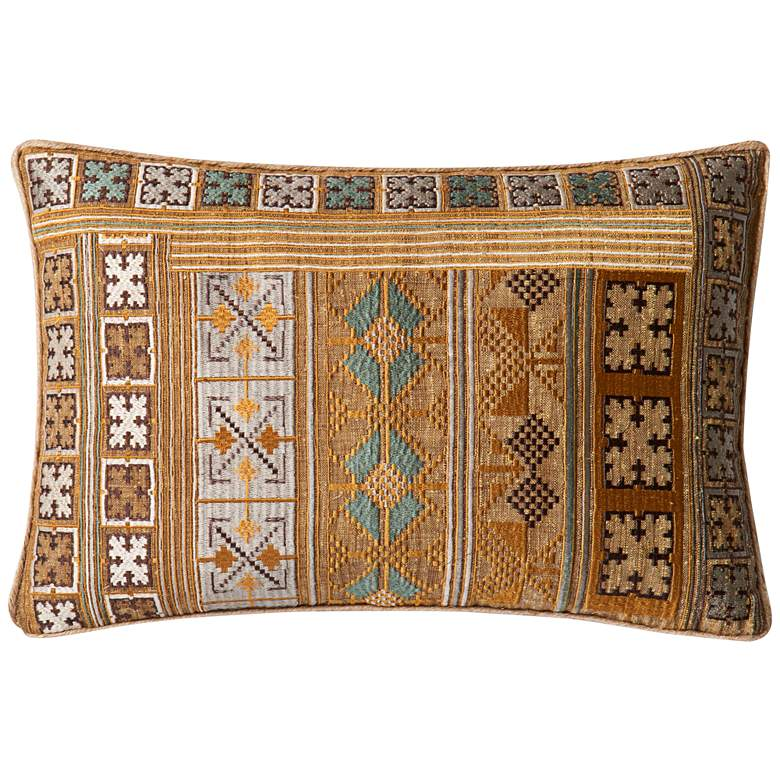 """Loloi Morill Gold and Teal Tribal 21"""" x 13"""" Pillow"""