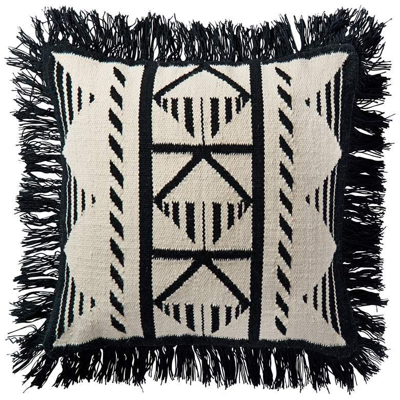"""Lomas Black and Ivory Tribal 22"""" Square Outdoor Throw Pillow"""