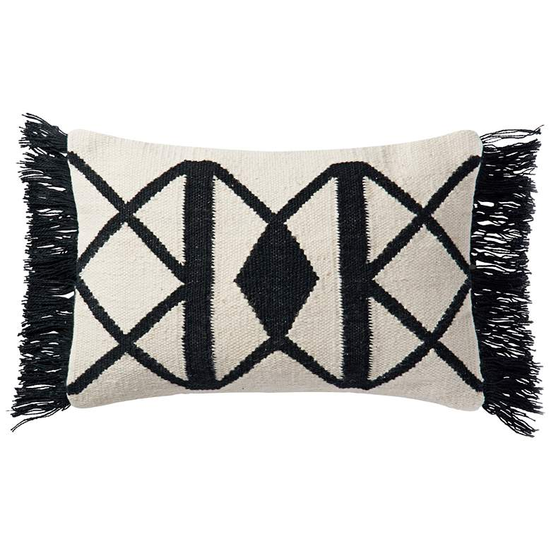 "Lomas Black and Ivory Tribal 21"" x 13"" Outdoor Pillow"