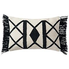 "Lomas Black and Ivory Tribal 21"" x 13"" Outdoor Throw Pillow"