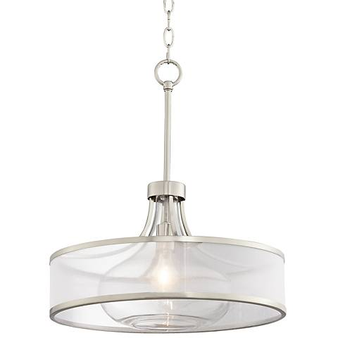 "Possini Euro Layne 19""W Brushed Nickel Pendant Light"