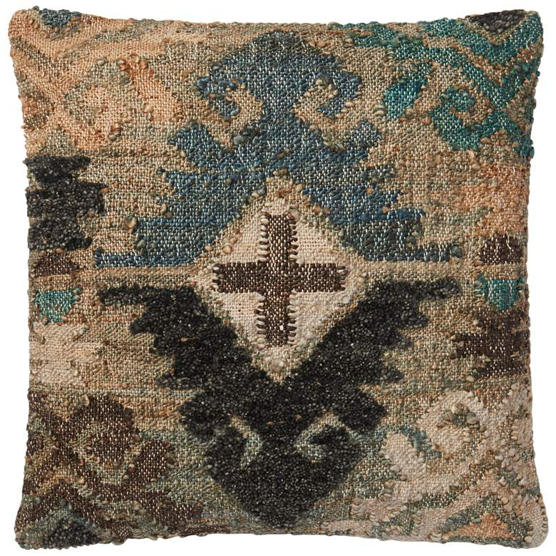 """Positos Blue Multi-Color Diamond 22"""" Square Throw Pillow"""