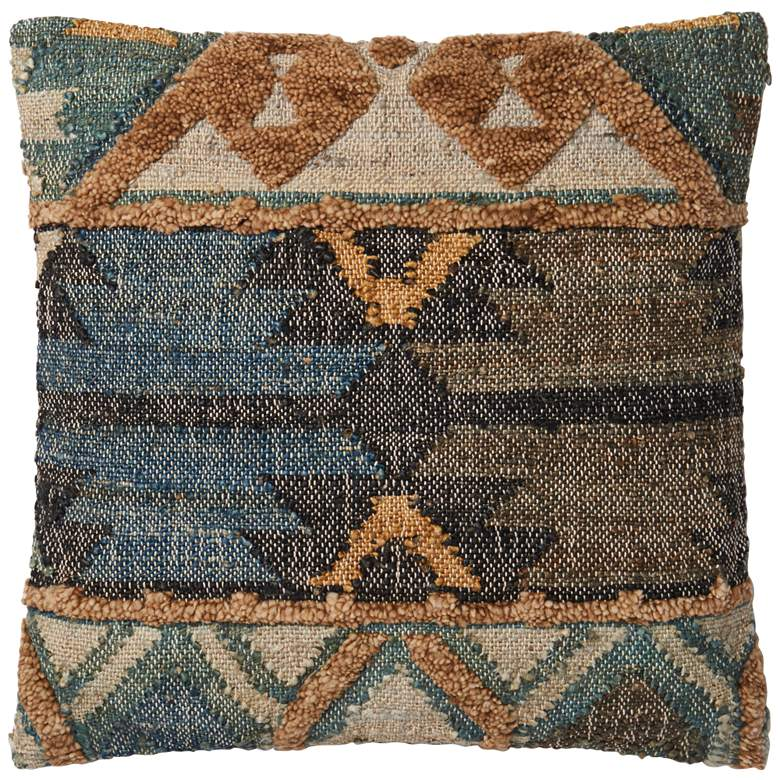 "Loloi Aberdeen Blue Multi-Color 22"" Square Throw Pillow"