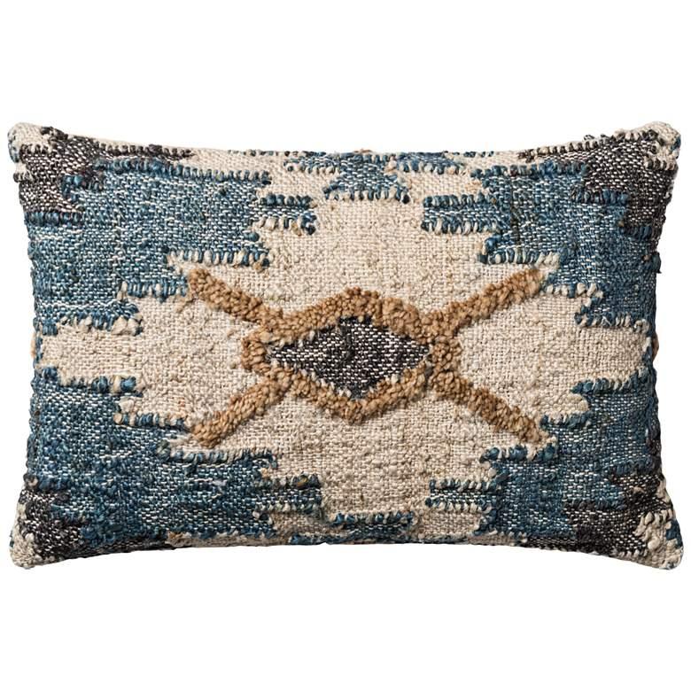 """Loloi Singley Blue and White Diamond 21"""" x 13"""" Pillow"""