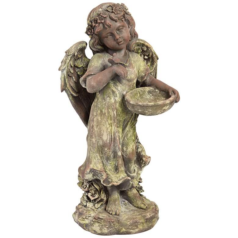 """Angel 21 1/2""""H Bronze and Green Moss Indoor-Outdoor Statue"""