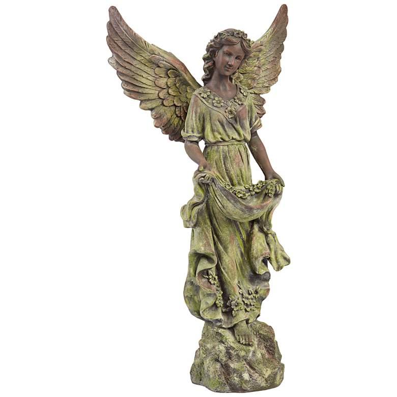 """Angel 31"""" High Bronze and Green Moss Indoor-Outdoor Statue"""