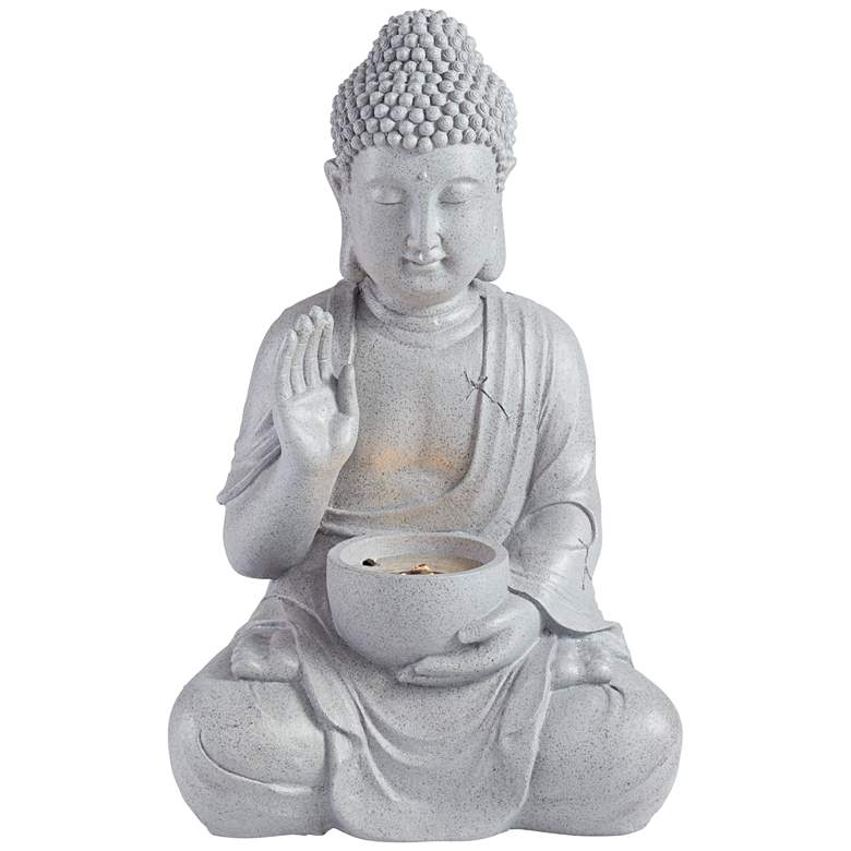 """Buddha 18 1/2"""" High Stone Bubbler Fountain with LED Light"""