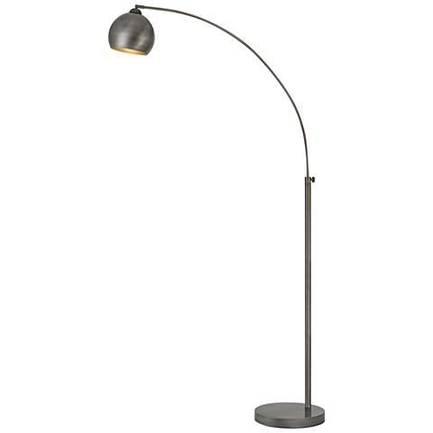 Nero Antiqued Silver Arc Floor Lamp