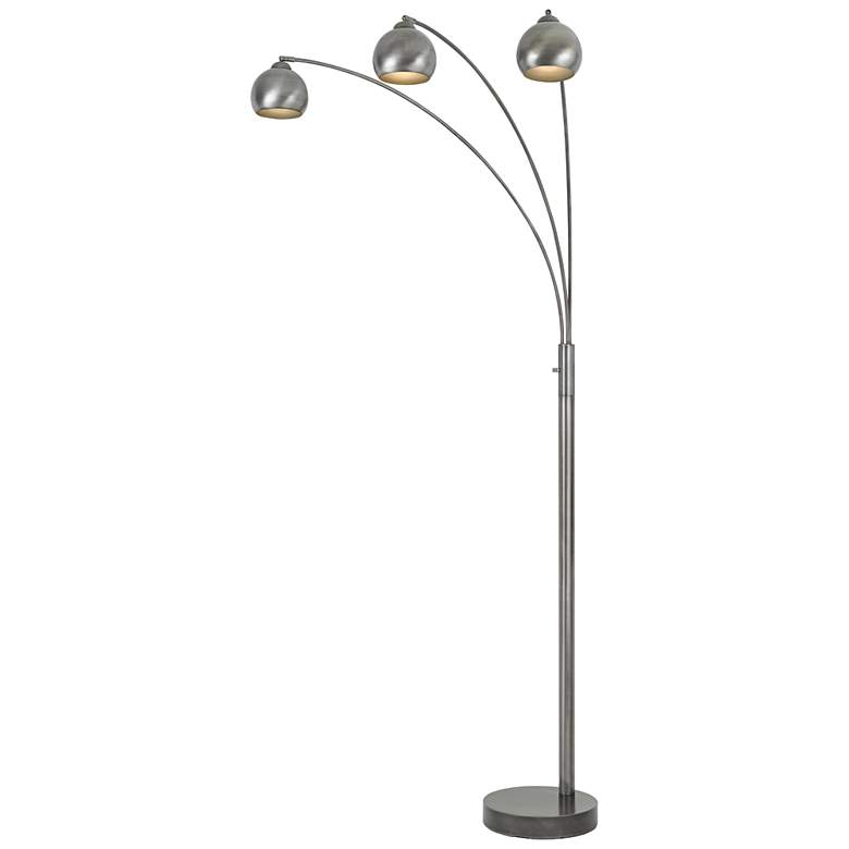 Nero Antiqued Silver 3-Light Arc Floor Lamp