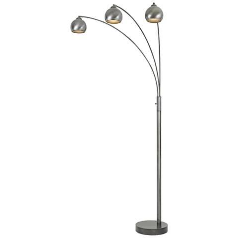 Nero Antiqued Silver 3-Light Arc Floor Lamp