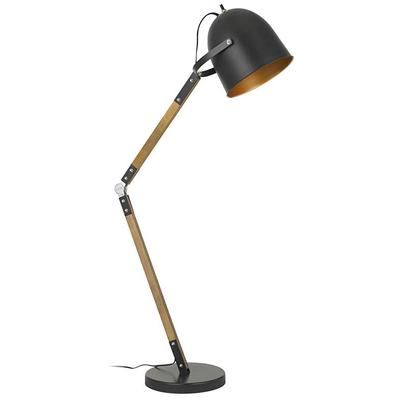 Binimi Matte Black and Wood Floor Lamp