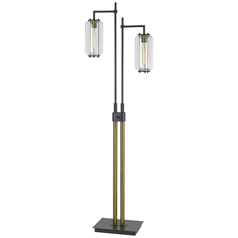Natchez Dark Bronze and Antiqued Brass Downlight Floor Lamp