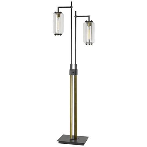 Natchez Dark Bronze and Antiqued Brass Downlight Floor Lamp